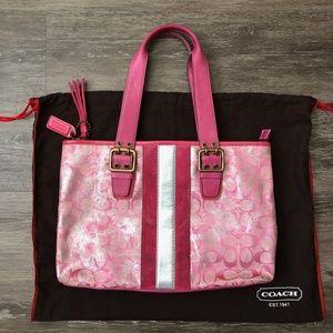 Vintage Coach Metallic Pink Tote / Handbag